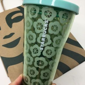 Starbucks Green Flower Cold Cup Tumbler 16 oz